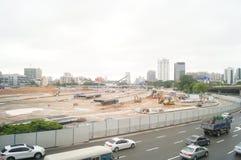 Shenzhen, China: Emplazamiento de la obra del proyecto de la renovación de las aduanas de Nantou Fotografía de archivo