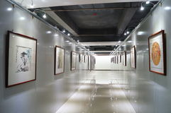 Shenzhen, China: Exposição de pintura dos trabalhos Fotografia de Stock