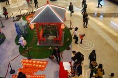 Shenzhen, China: Exposición de las ovejas de Art Painting del estallido Fotografía de archivo