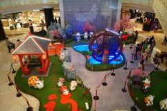 Shenzhen, China: Exposición de las ovejas de Art Painting del estallido Imagenes de archivo