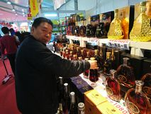 Shenzhen, China: Famous brand wine imported from France, if there is a false fine of RMB 100,000. Famous brand wine imported from France, if there is a false royalty free stock image