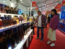Shenzhen, China: Famous brand wine imported from France, if there is a false fine of RMB 100,000. Famous brand wine imported from France, if there is a false stock images