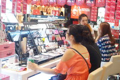 Shenzhen, China: female cosmetic beauty activities Stock Images