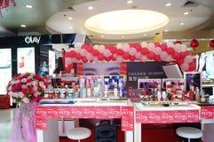 Shenzhen, China: female cosmetics counters Stock Photos