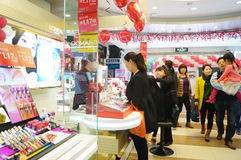 Shenzhen, China: female cosmetics counters Stock Photo