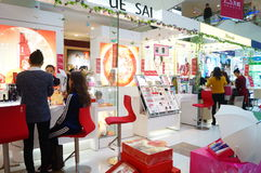 Shenzhen, China: female cosmetics counters Stock Image