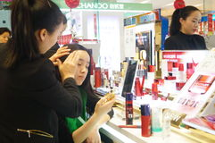 Shenzhen, China: female cosmetics counters Royalty Free Stock Image