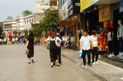 Shenzhen, China: female tourists in Xixiang commercial pedestrian street Royalty Free Stock Photography