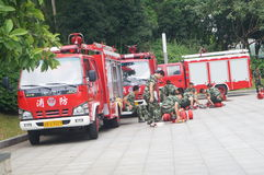 Shenzhen, China: Fire Fighter Training Stock Photography