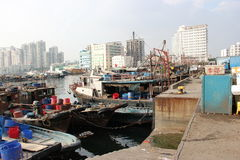 Shenzhen, China, fishing boat docked in shekou seaport Royalty Free Stock Images