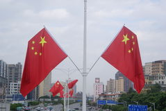 Shenzhen, China: five-star red flag flying the Baoan Avenue Stock Photography