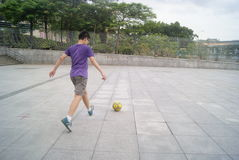 Shenzhen, China: football practice Stock Photos