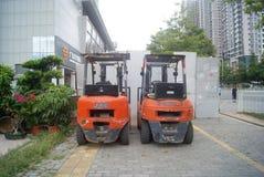 Shenzhen, China: forklift Stock Photography