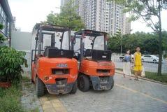 Shenzhen, China: forklift Royalty Free Stock Photo