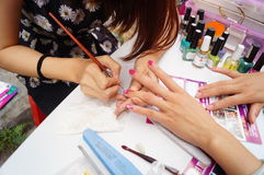 Shenzhen, China: free Manicure activities Stock Images