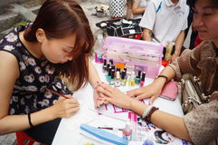 Shenzhen, China: free Manicure activities Royalty Free Stock Photos