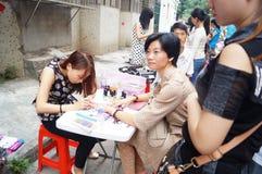 Shenzhen, China: free Manicure activities Royalty Free Stock Photo