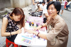 Shenzhen, China: free Manicure activities Stock Photos