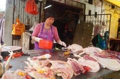 Shenzhen, China: fresh chicken stall Royalty Free Stock Images