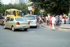 Shenzhen, China: the gate of the school gathered parents shuttle children Royalty Free Stock Image
