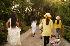 Shenzhen, China: girls in outdoor photography Royalty Free Stock Image