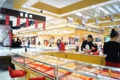 Shenzhen, China: gold jewelry counter Stock Image