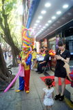 Shenzhen, China: gold jewelry sales promotion, play the clown Stock Image