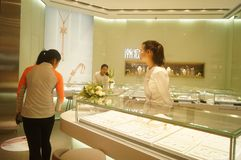 Shenzhen, China: gold silver jewelry store Royalty Free Stock Image