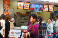 Shenzhen, China: Handmade Bread, people queue up to buy Stock Image