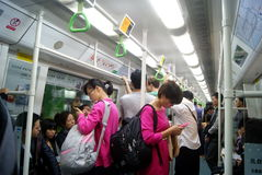 Shenzhen, China: het landschap van het metroverkeer Royalty-vrije Stock Foto's
