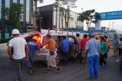 Shenzhen, China: het werk van arbeiders in de qianhai vrijhandelszone Royalty-vrije Stock Foto's