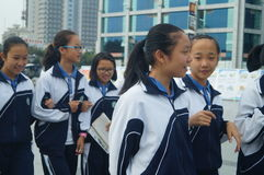 Shenzhen, China: high school students home from school. Baoan District, Shenzhen, noon, high school students home from school Stock Photo