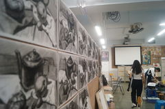 Shenzhen, China: high school students painting studio Royalty Free Stock Images