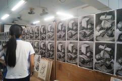 Shenzhen, China: high school students painting studio Stock Photo