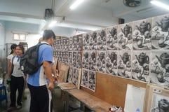 Shenzhen, China: high school students painting studio Royalty Free Stock Photo