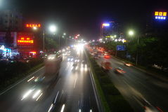Shenzhen, China: highway traffic at night Royalty Free Stock Photography