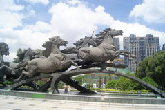 Shenzhen, China: horse sculpture landscape Royalty Free Stock Photo
