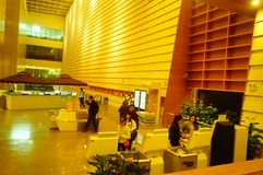 Shenzhen, China: the interior landscape of the library at night. At night, Baoan library interior landscape, readers are still reading, or access to the internet royalty free stock photography