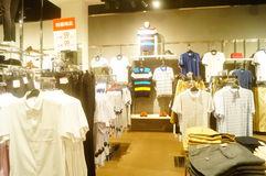 Shenzhen, China: interior view of clothing store Stock Image