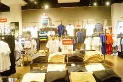 Shenzhen, China: interior view of clothing store Royalty Free Stock Image