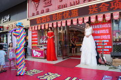Shenzhen, China: jade jewelry store promotional activities Royalty Free Stock Images