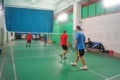 Shenzhen, China: jogando o badminton Imagens de Stock Royalty Free