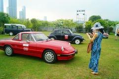 Shenzhen, China: jonge vrouwen bij de autoshow Royalty-vrije Stock Foto