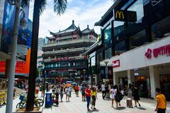 Shenzhen, China - July 16, 2018: Dong Men Pedestrian street in t Royalty Free Stock Images