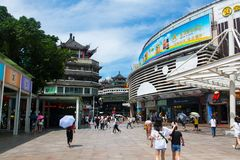 Shenzhen, China - July 16, 2018: Dong Men Pedestrian street in t Stock Image