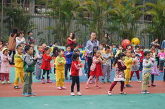 Shenzhen, China: kindergarten playground, children in activities Stock Photos
