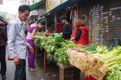 Shenzhen, China: landbouwersmarkt Stock Afbeelding