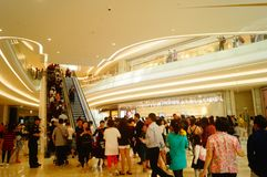 Shenzhen, China: large shopping malls opened, and many people attended the opening ceremony. Yi fang cheng large shopping malls opened, many people came to the Royalty Free Stock Image
