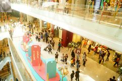 Shenzhen, China: large shopping malls opened, and many people attended the opening ceremony. Yi fang cheng large shopping malls opened, many people came to the Royalty Free Stock Images