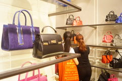 Shenzhen, China: leather bag shop Stock Images